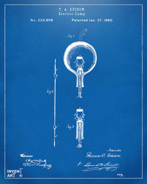 Wall Art - Digital Art - 1880 Edison Electric Lamp Patent Artwork Blueprint by Nikki Marie Smith