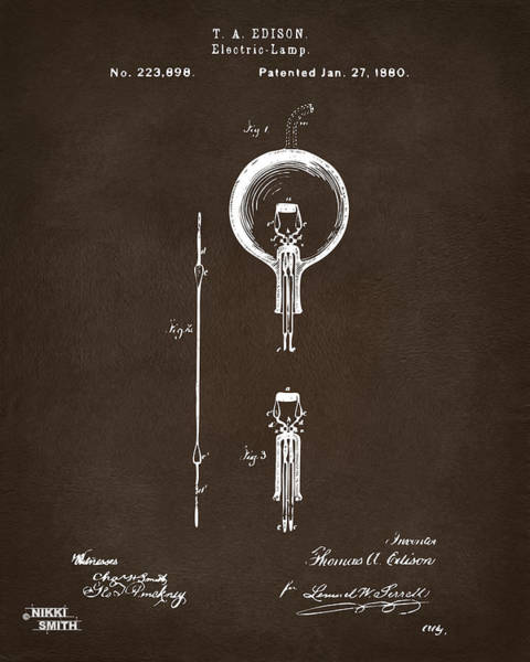 Wall Art - Digital Art - 1880 Edison Electric Lamp Patent Artwork Espresso by Nikki Marie Smith