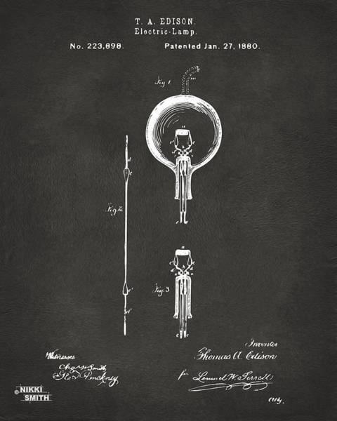 Wall Art - Digital Art - 1880 Edison Electric Lamp Patent Artwork - Gray by Nikki Marie Smith