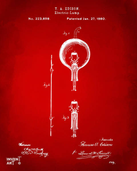 Wall Art - Digital Art - 1880 Edison Electric Lamp Patent Artwork Red by Nikki Marie Smith