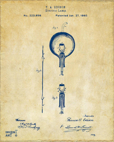 Wall Art - Digital Art - 1880 Edison Electric Lamp Patent Artwork Vintage by Nikki Marie Smith