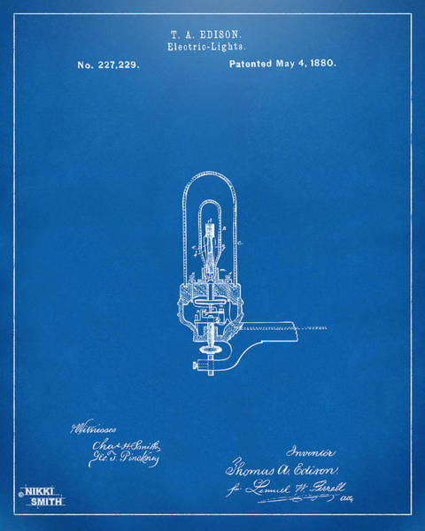 Wall Art - Digital Art - 1880 Edison Electric Lights Patent Artwork - Blueprint by Nikki Marie Smith