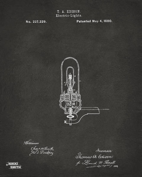 Wall Art - Digital Art - 1880 Edison Electric Lights Patent Artwork - Gray by Nikki Marie Smith