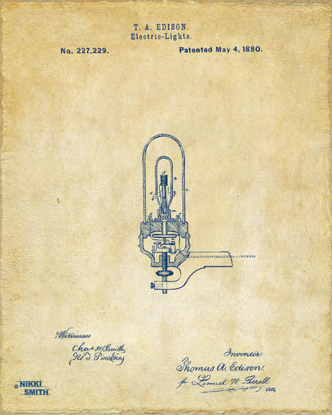 Wall Art - Digital Art - 1880 Edison Electric Lights Patent Artwork - Vintage by Nikki Marie Smith