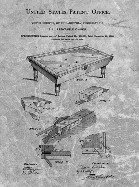 1880 Drawing - 1880 Pool Table Patent Charcoal by Dan Sproul