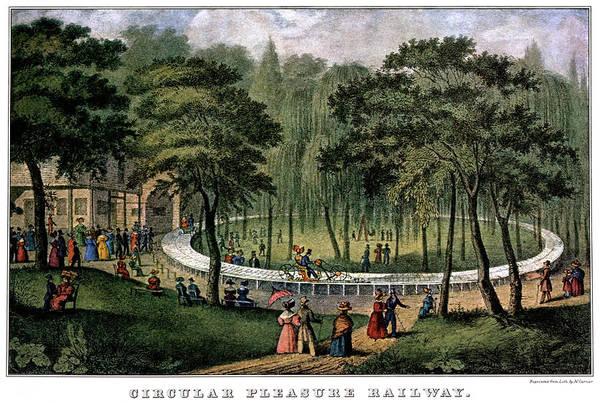 Vintage Railroad Painting - 1880s Circular Pleasure Railway - by Vintage Images
