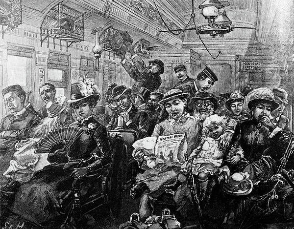 Harper Painting - 1880s Illustration Crowded Passenger by Vintage Images
