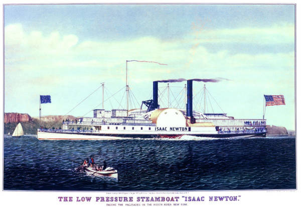 Excitement Painting - 1880s The Low Pressure Steamboat Isaac by Vintage Images