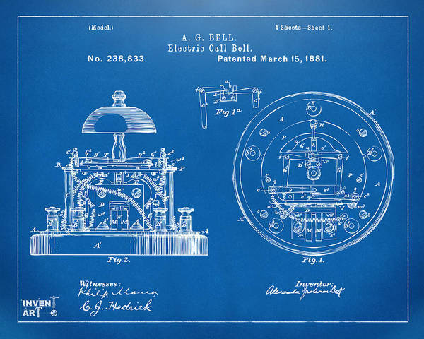 Wall Art - Digital Art - 1881 Alexander Graham Bell Electric Call Bell Patent Blueprint by Nikki Marie Smith