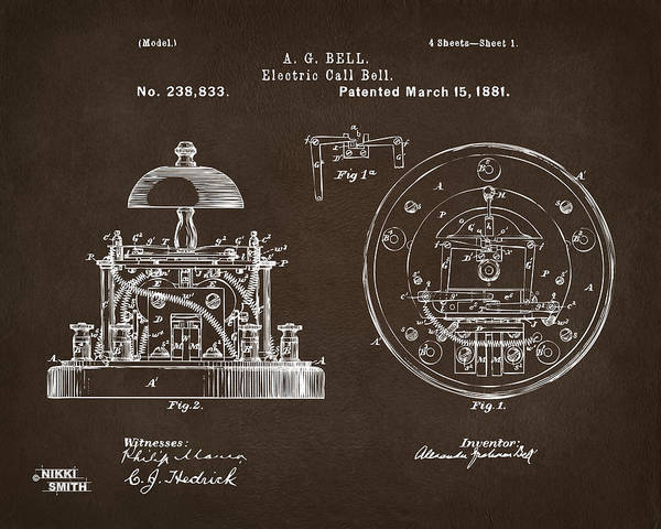 Bell Digital Art - 1881 Alexander Graham Bell Electric Call Bell Patent Espresso by Nikki Marie Smith