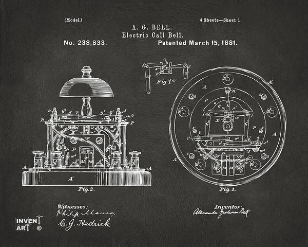 Bell Digital Art - 1881 Alexander Graham Bell Electric Call Bell Patent Gray by Nikki Marie Smith