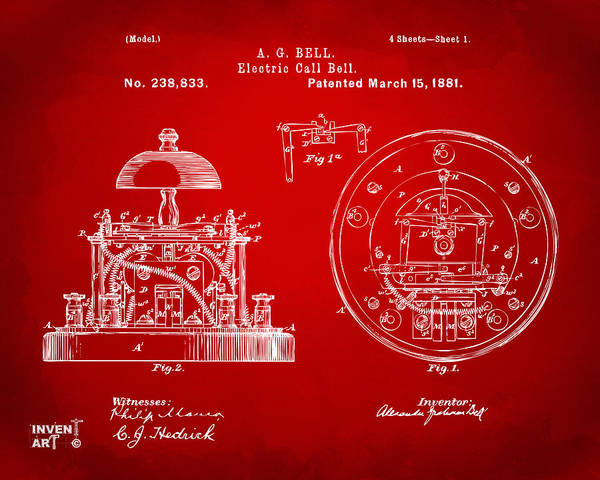 Bell Digital Art - 1881 Alexander Graham Bell Electric Call Bell Patent Red by Nikki Marie Smith