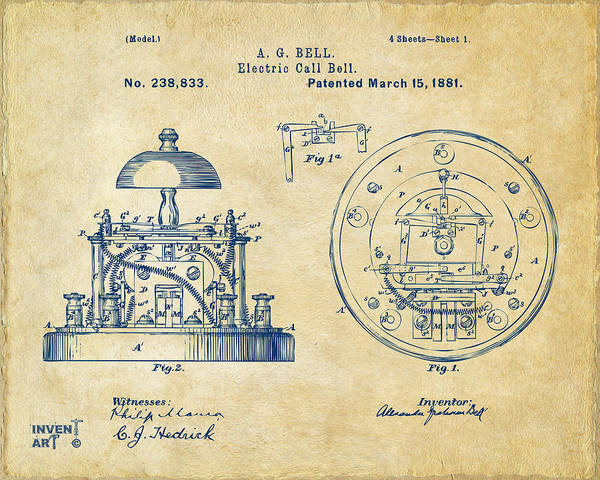 Bell Digital Art - 1881 Alexander Graham Bell Electric Call Bell Patent Vintage by Nikki Marie Smith