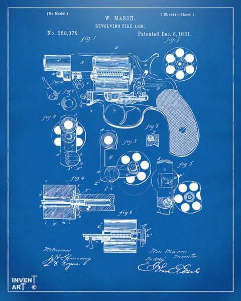 Wall Art - Digital Art - 1881 Colt Revolving Fire Arm Patent Artwork - Blueprint by Nikki Marie Smith