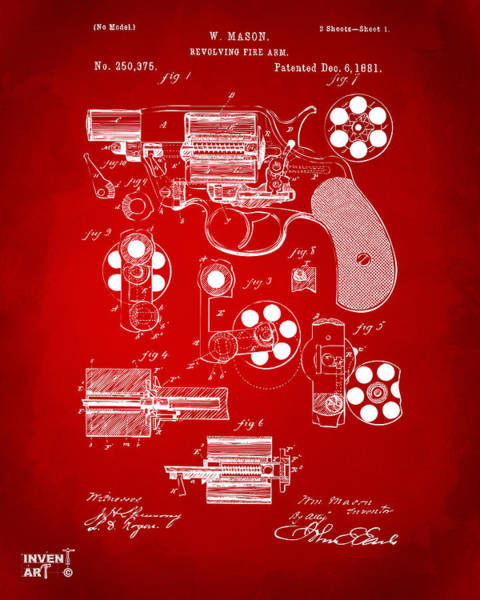 Digital Art - 1881 Colt Revolving Fire Arm Patent Artwork Red by Nikki Marie Smith