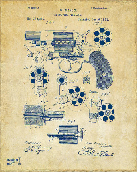 Digital Art - 1881 Colt Revolving Fire Arm Patent Artwork Vintage by Nikki Marie Smith
