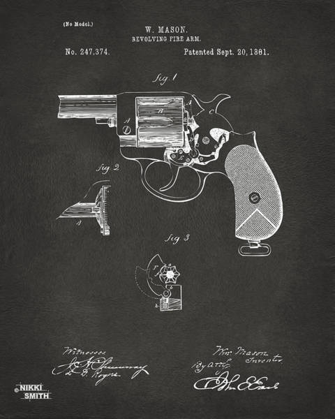 Armed Digital Art - 1881 Mason Colt Revolving Fire Arm Patent Artwork - Gray by Nikki Marie Smith