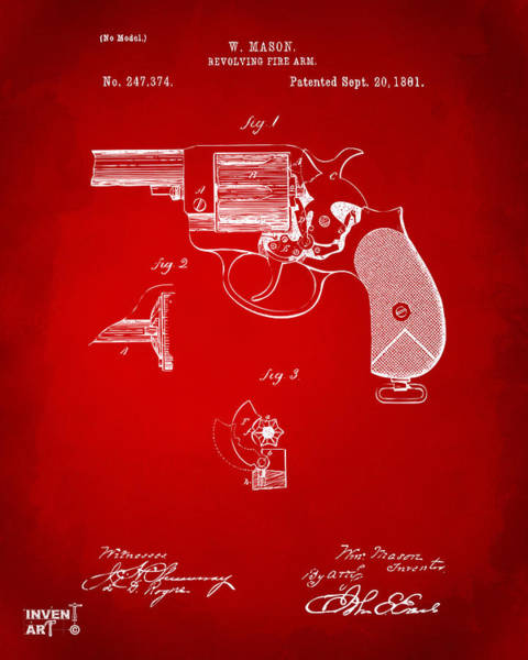 Digital Art - 1881 Mason Revolving Fire Arm Patent Artwork Red by Nikki Marie Smith