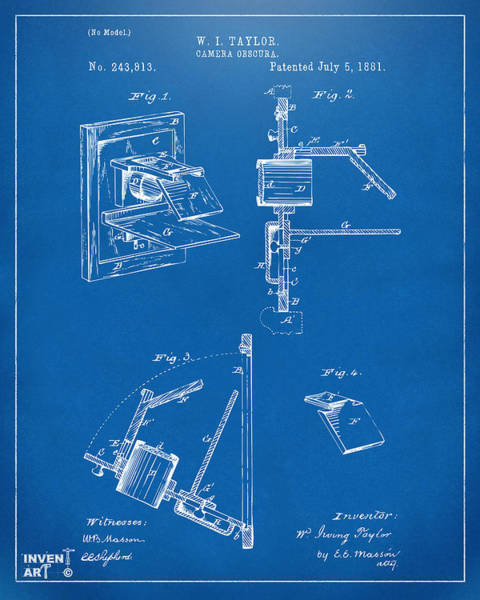Philosopher Digital Art - 1881 Taylor Camera Obscura Patent Blueprint by Nikki Marie Smith