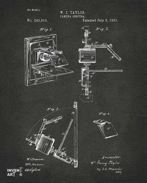 Digital Art - 1881 Taylor Camera Obscura Patent Gray by Nikki Marie Smith