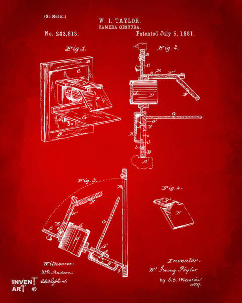 Philosopher Digital Art - 1881 Taylor Camera Obscura Patent Red by Nikki Marie Smith