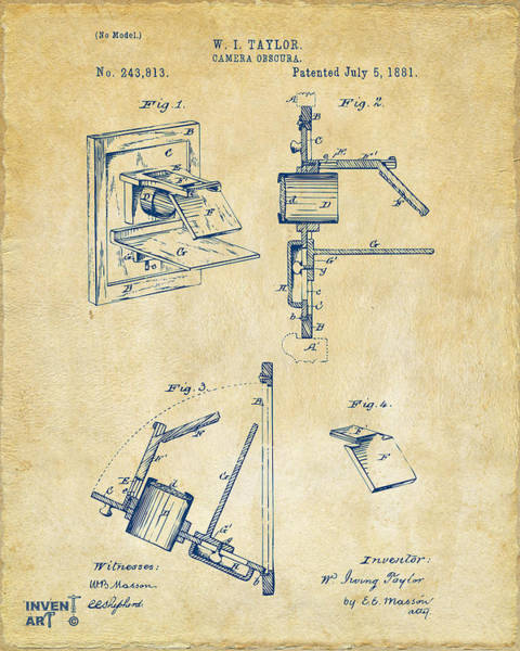 Philosopher Digital Art - 1881 Taylor Camera Obscura Patent Vintage by Nikki Marie Smith
