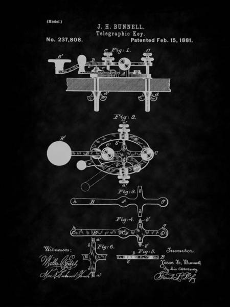 Digital Art - 1881 Telegraph Key Patent Art-bk by Barry Jones