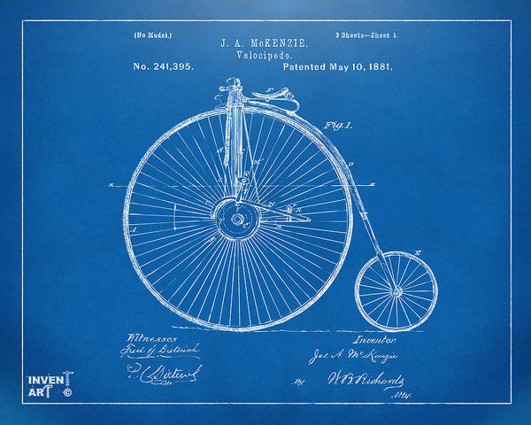 Wall Art - Digital Art - 1881 Velocipede Bicycle Patent Artwork - Blueprint by Nikki Marie Smith