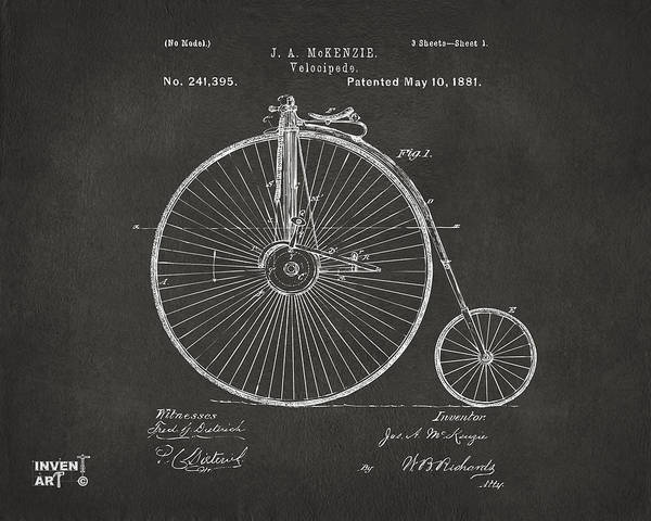 Wall Art - Digital Art - 1881 Velocipede Bicycle Patent Artwork - Gray by Nikki Marie Smith