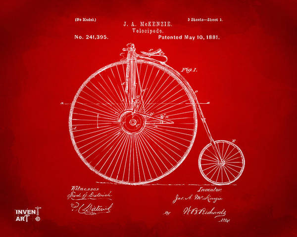 Wall Art - Digital Art - 1881 Velocipede Bicycle Patent Artwork - Red by Nikki Marie Smith
