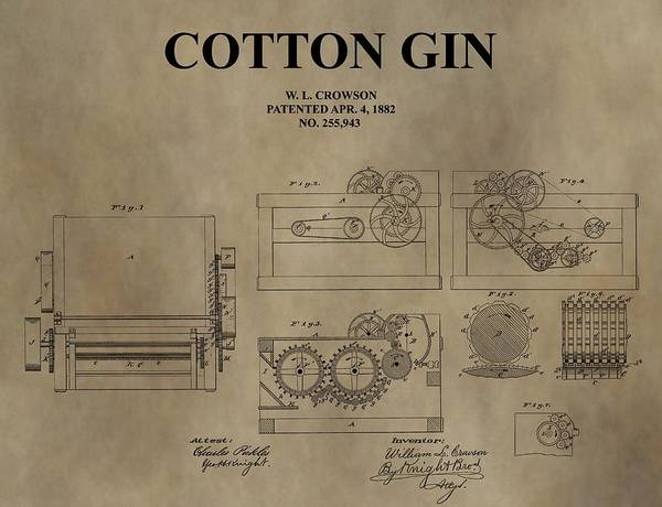 Wall Art - Drawing - 1882 Cotton Gin Patent by Dan Sproul