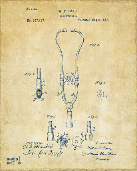 Practice Digital Art - 1882 Doctor Stethoscope Patent - Vintage by Nikki Marie Smith