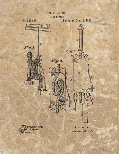 Mixed Media - 1882 Fire Escape Patent by Dan Sproul