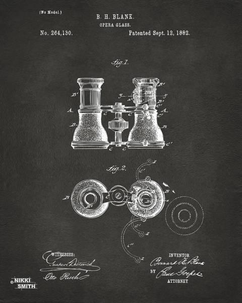 Play Music Digital Art - 1882 Opera Glass Patent Artwork - Gray by Nikki Marie Smith