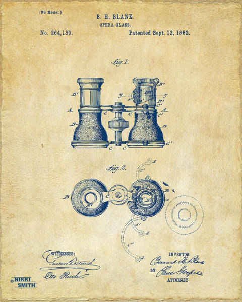 Play Music Digital Art - 1882 Opera Glass Patent Artwork - Vintage by Nikki Marie Smith