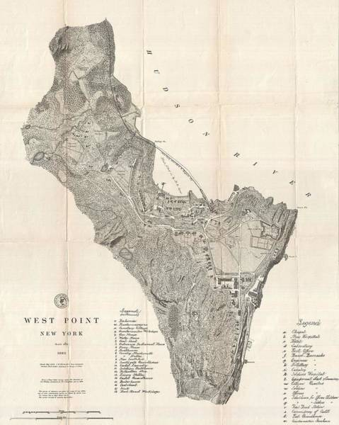 Wall Art - Mixed Media - 1883 West Point Map by Dan Sproul