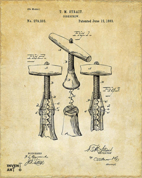 Den Digital Art - 1883 Wine Corckscrew Patent Art - Vintage Black by Nikki Marie Smith
