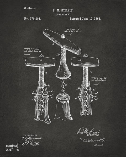 Bar Wall Art - Digital Art - 1883 Wine Corckscrew Patent Artwork - Gray by Nikki Marie Smith