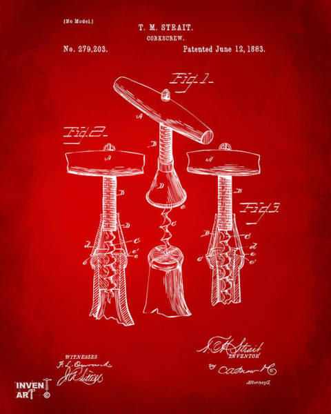 Wall Art - Digital Art - 1883 Wine Corckscrew Patent Artwork - Red by Nikki Marie Smith
