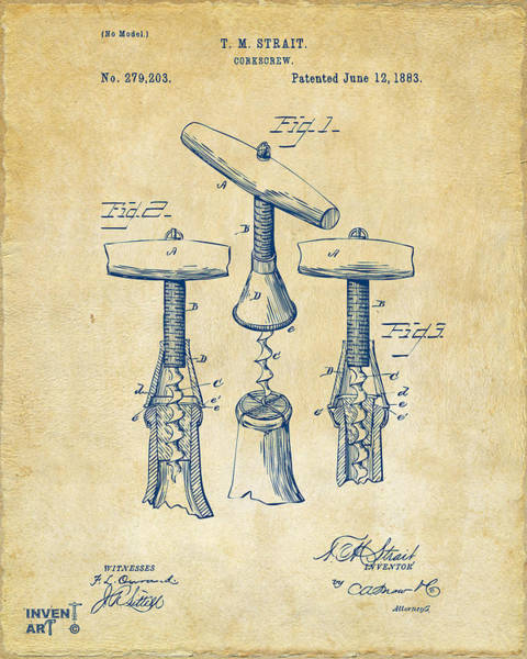 Wall Art - Digital Art - 1883 Wine Corckscrew Patent Artwork - Vintage by Nikki Marie Smith