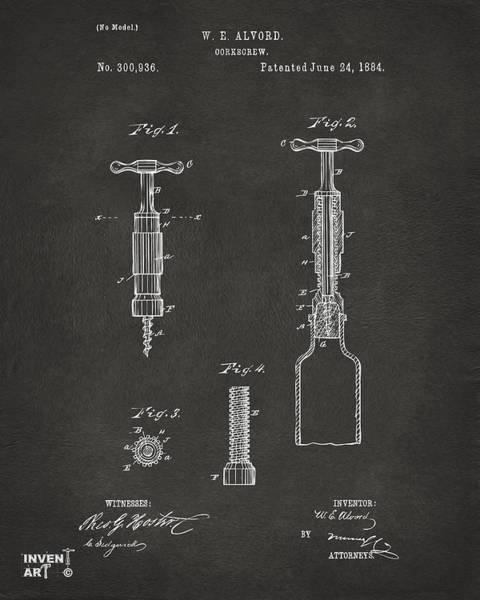 Wall Art - Digital Art - 1884 Corkscrew Patent Artwork - Gray by Nikki Marie Smith