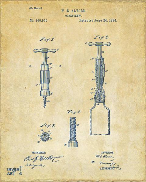 Wall Art - Digital Art - 1884 Corkscrew Patent Artwork - Vintage by Nikki Marie Smith
