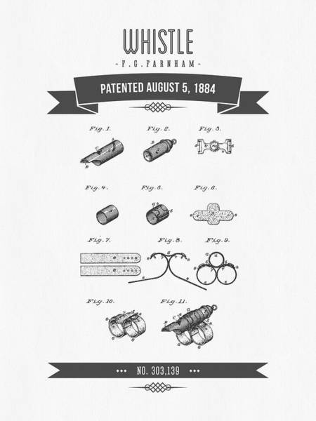 Wall Art - Digital Art - 1884 Whistle Patent Drawing by Aged Pixel
