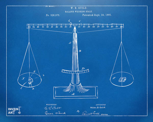 Fairness Wall Art - Digital Art - 1885 Balance Weighing Scale Patent Artwork Blueprint by Nikki Marie Smith