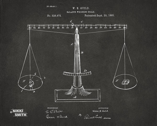 Fairness Wall Art - Digital Art - 1885 Balance Weighing Scale Patent Artwork - Gray by Nikki Marie Smith