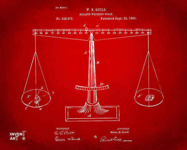 Digital Art - 1885 Balance Weighing Scale Patent Artwork Red by Nikki Marie Smith