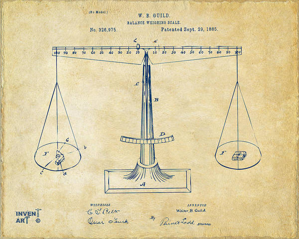 Digital Art - 1885 Balance Weighing Scale Patent Artwork Vintage by Nikki Marie Smith