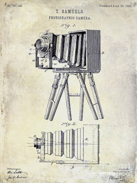 1885 Wall Art - Photograph - 1885 Camera Patent Drawing  by Jon Neidert
