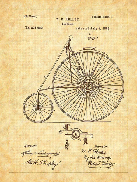 Drawing - 1885 Kelly Large Wheel Bicycle Patent by Barry Jones