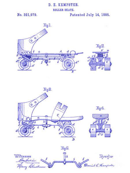 Vintage Patent Drawing - 1885 Roller Skate Patent Blueprint by Jon Neidert